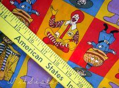 5dollar YARDSALE 1yd Ronald McDonald Fabric Cotton BTY Yards Yardage Hamburglar Grimace etc. $5.00, via Etsy.