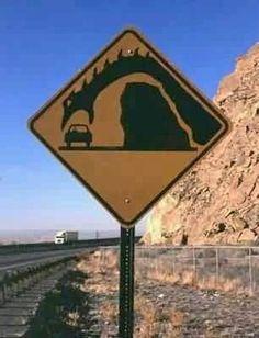 Loch Ness Monster on Road