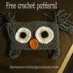 Free Owl Crochet Hat Pattern | Katie's Crochet Goodies and Crafts