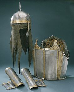 Persian khula-khud (helmet), char-aina (chahar-aina, chahar a'ineh), literally the four mirrors, chest armor with four plates, bazu band (vambrace/arm guards).