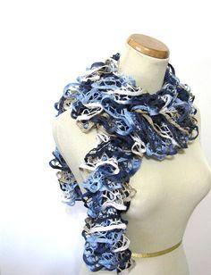 Hand Knit Ruffled Scarf  Blue Navy Blue Tan by ArlenesBoutique, $29.95