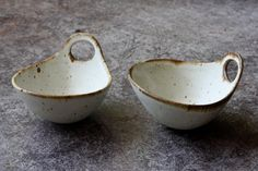 Set of 2 Pottery Bowls  Rust Rim Speckle White by