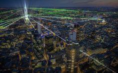 Shard laser show, London