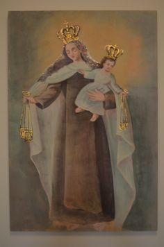 Painting of Mary and Jesus on wood panel, gilding, acrylic. By Birmingham metal artist Catherine Partain.