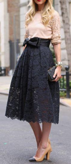 Lace Skirt #black #cream #heels