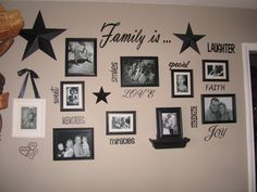 Family Wall Quotes and Collage Wall Vinyl INCLUDING frames. $60.00, via Etsy.