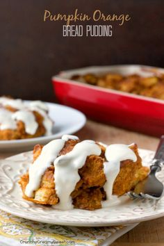 Pumpkin Orange Bread Pudding with Cream Cheese Glaze - absolutely delicious breakfast or brunch idea for a Thanksgiving morning!