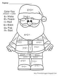 Add together and color Santa!