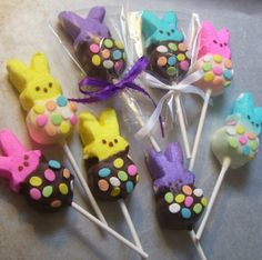Easter Marshmallow Pops Chocolate Bunny Marshmallow Pops Easter Party Baby Shower Birthday Party 1 dozen