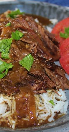 Beef Pot Roast with Onion Gravy Recipe ~  Beef pot roast slow simmered  in a gravy rich with onions and garlic