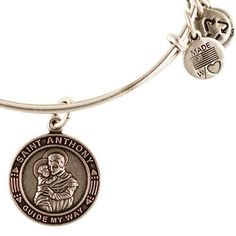 Alex and Ani St. Anthony Expandable Wire Bangle Russian Silver