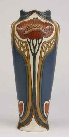 German Art Nouveau pottery vase by Mettlach, Villeroy & Boch