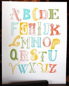 Alphabet Letterpress Print 11x14 Childrens room. $39.00, via Etsy.