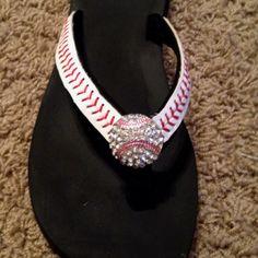 Rhinestone baseball flip flops  www.andtheycallmebosse.com