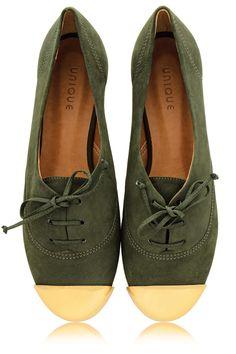 MISS UNIQUE ESTER Olive Lace Up Flats - SHOES | FLATS
