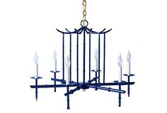 Large 6-Arm Chandelier, Navy