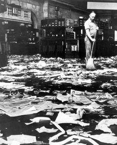 Man Sweeping Floor of New York Stock Exchange after Crash. 1929.