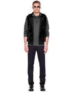 Michael Kors Rabbit Quilted Vest & Leather-Trim Jersey Zip Sweater.