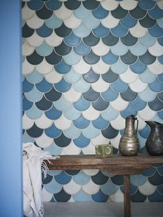fire earth, bathroom tile blue scales, wall hangings, louisa grey, fired earth tiles, pattern, stylist, dream houses, accent walls