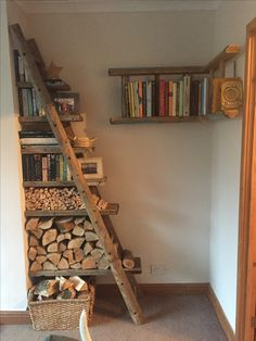 Reclaimed ladder and scaffolding board shelves. LOVE