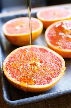 Broiled Grapefruit with Honey - I usually have grapefruit plain so this was a great way to switch it up! I tried cinnamon and ginger and I liked the cinnamon more.