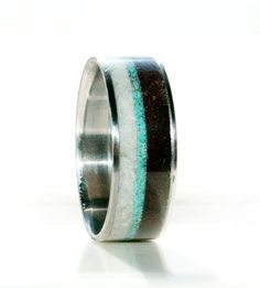 Mens Unique Wedding Band - Wood and Antler ring with turquoise inlay and titanium...could be cool for a hunter?