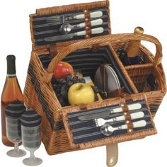 Wedding Anniversary Gift:Largo Two Person Picnic Basket (Natural)