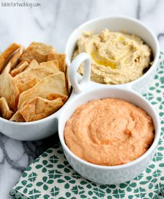 Homemade Garlic and Roasted Red Pepper Hummus from tablefortwoblog.com