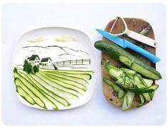 more edible art...cucumber landscape!  http://www.momincdaily.com/uncategorized/make-edible-art/
