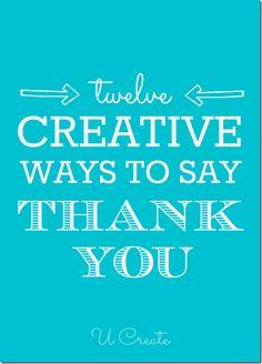 "Many Creative Ways to Say ""Thank You"""
