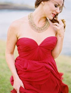 Red Sarah Seven dress | Photography: Jessica Burke - www.jessicaburke.com  Read More: http://www.stylemepretty.com/2014/10/11/coastal-maui-engagement-session/