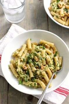 Pasta with zucchini, walnuts and herbs - Green Valley Kitchen