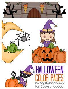 kid color pages halloween  Kid Color Pages: Halloween