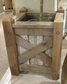 rustic outdoor furniture, idea, planters for trees, herb, box planter, rustic country gardening, pallet, rustic garden boxes, gate