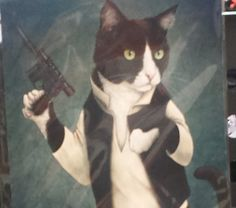 HAN TUXEDO! Check out Jenny Parks' awesome geeky feline art! #art #starwars #hansolo #cats #tuxedocat #cat