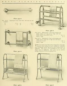 Towel warmers from 1907 Mott's Iron Works Plumbing catalog.