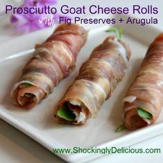 Prosciutto Goat Cheese Rolls with Fig Preserves and Arugula