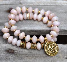 Dusty Pink Beaded Bracelets / Fleur de Lis Charm /