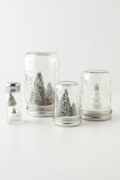 holiday, ball jars, xmas trees, christmas jars, salt shakers, snow globes, mason jars, christmas trees, diy christmas