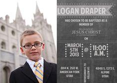 5x7 Chalkboard style LDS Baptism Invitation.  via Etsy.