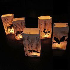 Nature themed lanterns Moose Deer Fox Crows Bear luminaries 5 tealight paper lanterns book pages Halloween party decor rustic romance