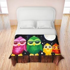 OpenSky Exclusive- Artistic Duvet Covers by DiaNoche Designs, Owls on a Fence from DiaNoche Designs on OpenSky