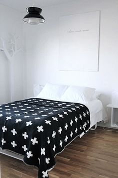 Via Room of Karma | Bedroom | Pia Wallen Cross Blanket | Black White