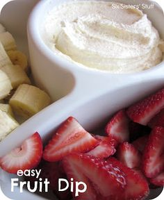 Easy & Delicious Fruit Dip Recipe:    1 (8 oz) container WHIPPED cream cheese (must be whipped)  1 (7 oz) container Marshmallow Creme    Put both ingredients in a bowl. Now whip it (whip it good) . . . and keep whipping . . . and keep whipping (I usually use a whisk and just beat the heck out of it. Not only is it a delicious dish, but it is quite the workout too!). It will be smooth and fluffy when it's ready.  Serve with strawberries, bananas, pineapple . . . basically any kind of fruit.