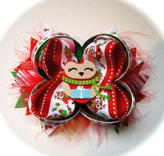 Red and Green Owl Christmas Hair Bow with Feathers