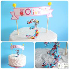 Sweet cake at a Peppa Pig Twins Party with LOTS of CUTE IDEAS via Kara's Party Ideas   KarasPartyIdeas.com #Pig #Party #Ideas #Supplies #PeppaPig #birthday #cake