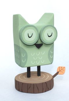 Green Wooden Owl - by Eric Barclay