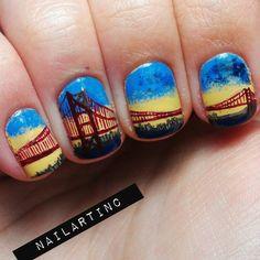 brooklyn bridge, wedding day nails, golden gate bridge, bridg nail, nail colors, nail arts, beauty, bridges, nail ideas
