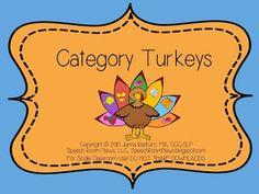 Speechie Freebies: Turkey Categories