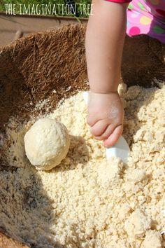 Coconut cloud dough activity